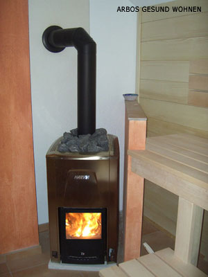 arbos gesund wohnen sauna holzofen w nde mit naturfarben lasur gstrichen innenausbau. Black Bedroom Furniture Sets. Home Design Ideas