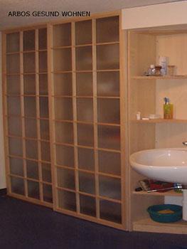 arbos gesund wohnen badezimmer einrichtung schiebet ren. Black Bedroom Furniture Sets. Home Design Ideas
